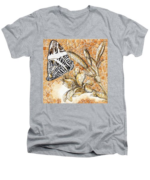 Men's V-Neck T-Shirt featuring the painting Butterfly Mosaic 02 Elena Yakubovich by Elena Yakubovich