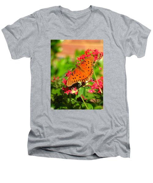 Men's V-Neck T-Shirt featuring the photograph Butterfly On Pentas by Carla Parris