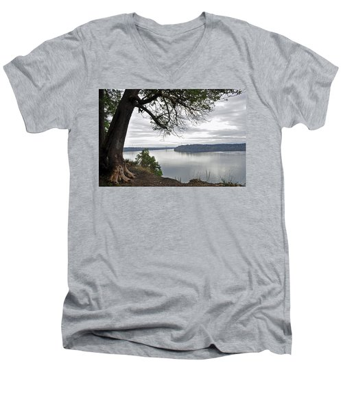 By The Still Waters Men's V-Neck T-Shirt by Tikvah's Hope