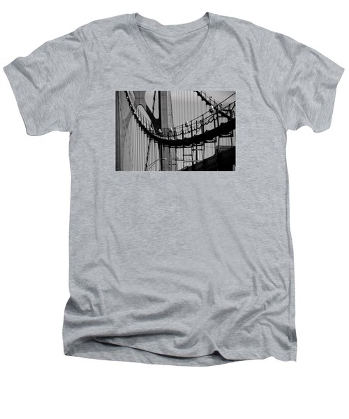 Men's V-Neck T-Shirt featuring the photograph Cables by John Schneider