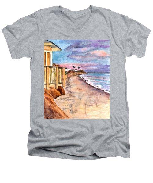Men's V-Neck T-Shirt featuring the painting California Coast by Clara Sue Beym