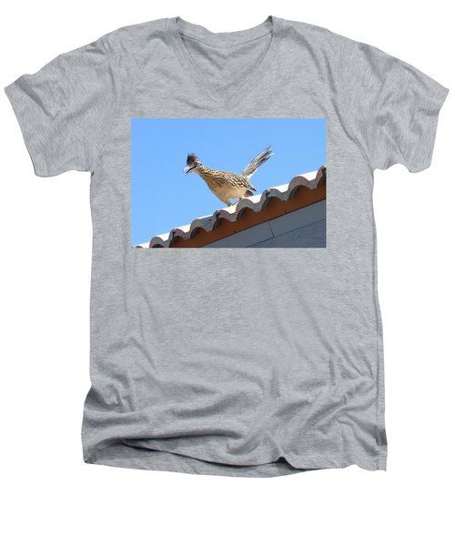 Men's V-Neck T-Shirt featuring the photograph California Roadrunner by Carla Parris