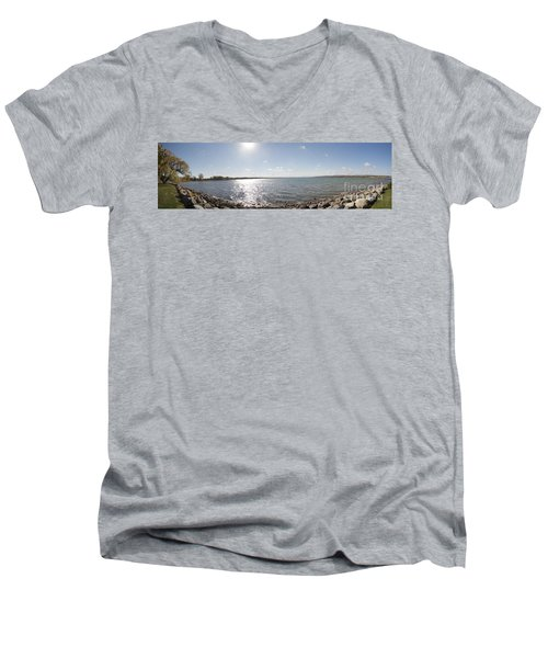 Men's V-Neck T-Shirt featuring the photograph Canandaigua Lake Panorama by William Norton