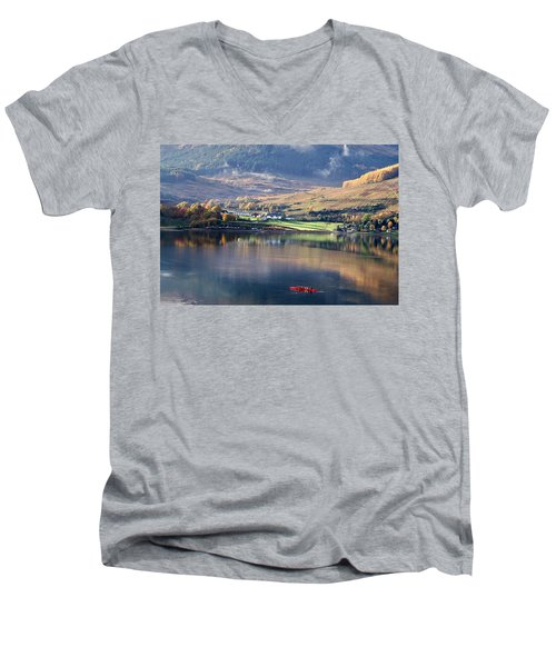 Men's V-Neck T-Shirt featuring the photograph Canoeing On Loch Goil by Lynn Bolt