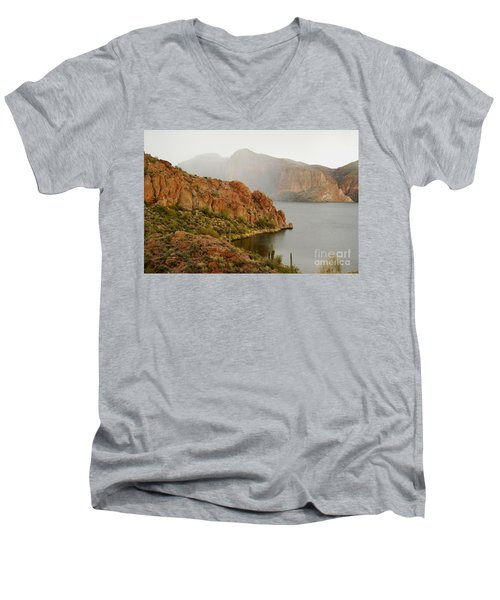 Men's V-Neck T-Shirt featuring the photograph Canyon Lake by Tam Ryan