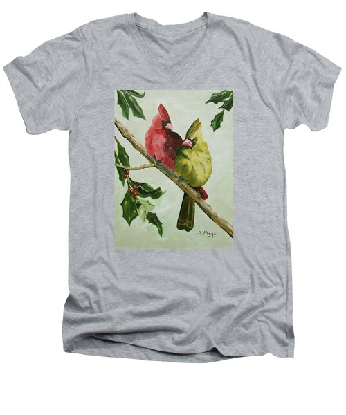 Cardinals With Holly Men's V-Neck T-Shirt