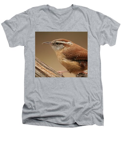Men's V-Neck T-Shirt featuring the photograph Carolina Wren by Daniel Reed