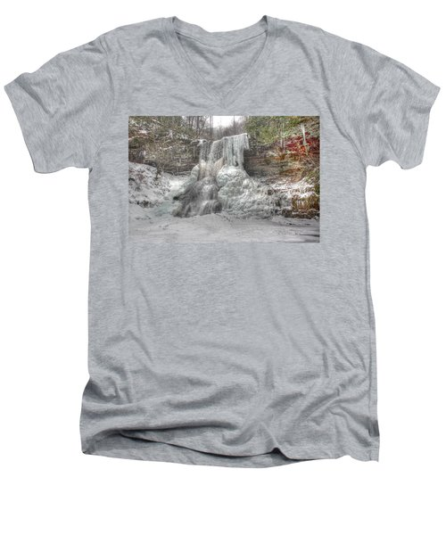 Cascades In Winter 1 Men's V-Neck T-Shirt by Dan Stone