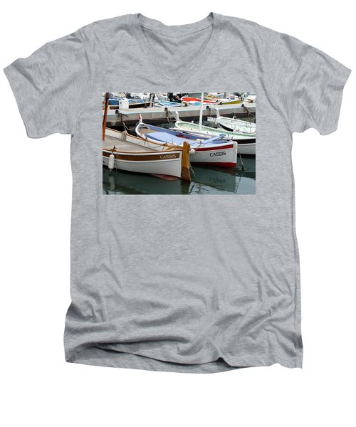 Men's V-Neck T-Shirt featuring the photograph Cassis Harbor by Carla Parris