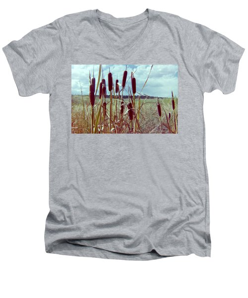 Men's V-Neck T-Shirt featuring the photograph Cat Tails by Bonfire Photography
