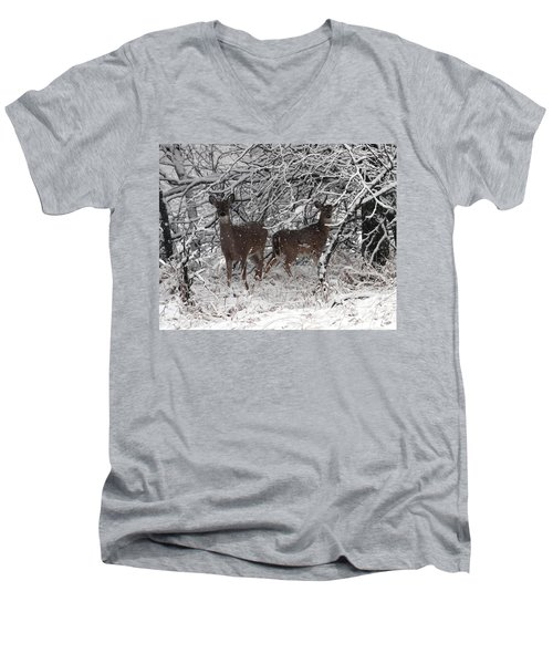 Men's V-Neck T-Shirt featuring the photograph Caught In The Snow Storm by Elizabeth Winter