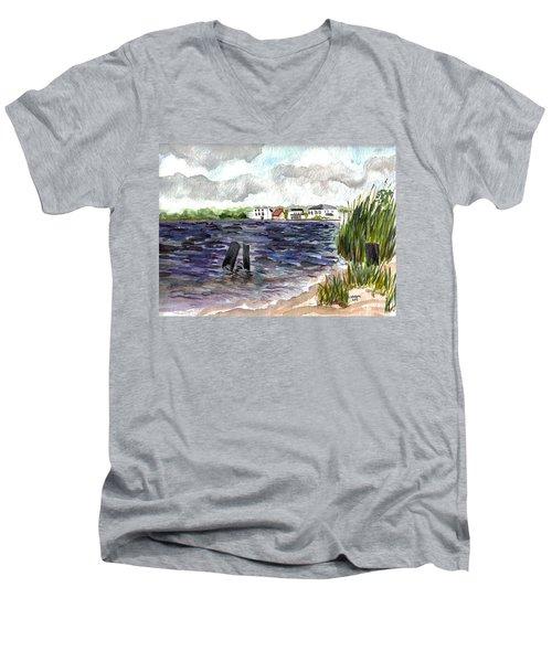 Men's V-Neck T-Shirt featuring the painting Cedar Beach by Clara Sue Beym