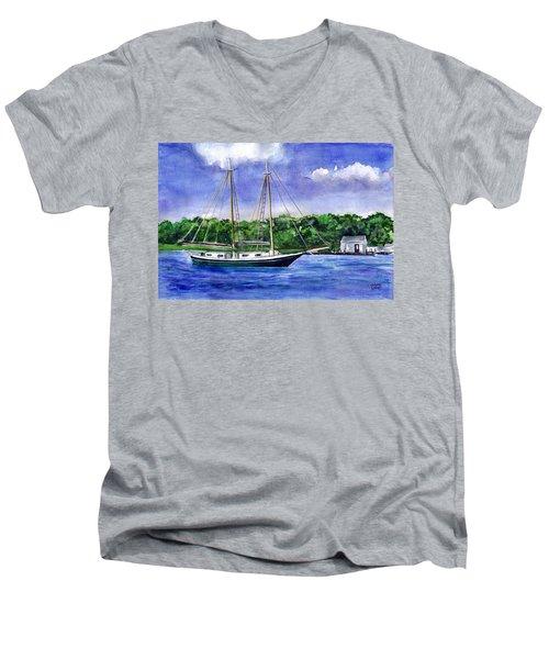 Men's V-Neck T-Shirt featuring the painting Cedar Beach Schooner by Clara Sue Beym