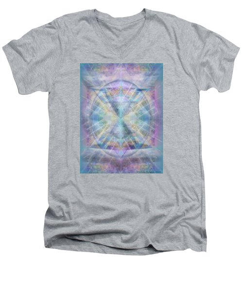 Men's V-Neck T-Shirt featuring the digital art Chalice Of Vorticspheres Of Color Shining Forth Over Tapestry by Christopher Pringer