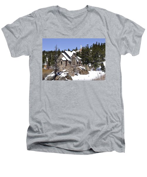 Chapel On The Rocks No. 3 Men's V-Neck T-Shirt