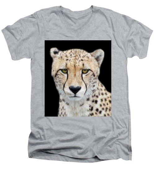 Men's V-Neck T-Shirt featuring the photograph Cheetah by Lynn Bolt