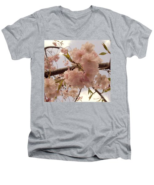 Men's V-Neck T-Shirt featuring the photograph Cherry Blossom 2 by Andrea Anderegg