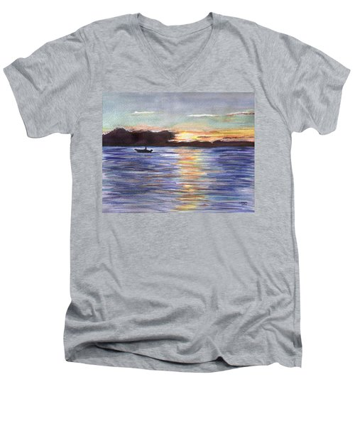 Men's V-Neck T-Shirt featuring the painting Chesapeake Dusk Boat Ride by Clara Sue Beym
