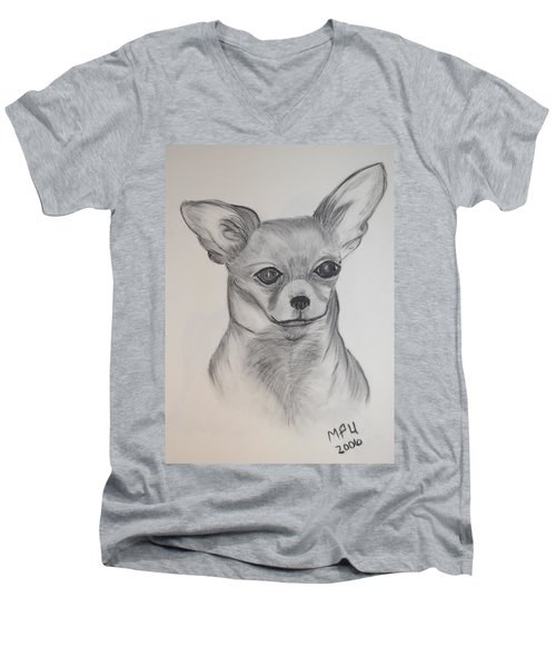 Men's V-Neck T-Shirt featuring the drawing Chi Chi by Maria Urso