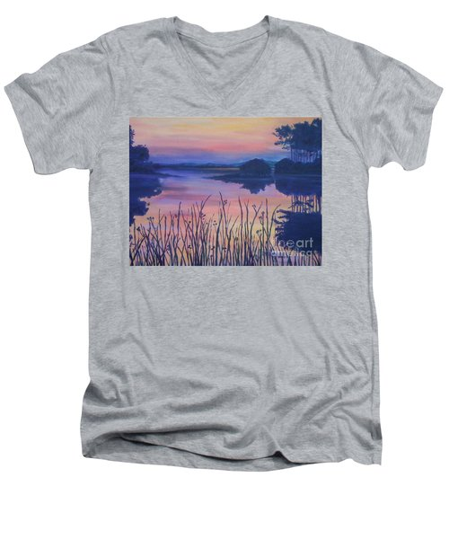 Men's V-Neck T-Shirt featuring the painting Chincoteaque Island Sunset by Julie Brugh Riffey