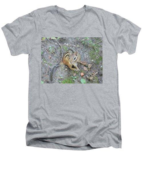 Men's V-Neck T-Shirt featuring the photograph Chipmunk Feast by Laurel Best