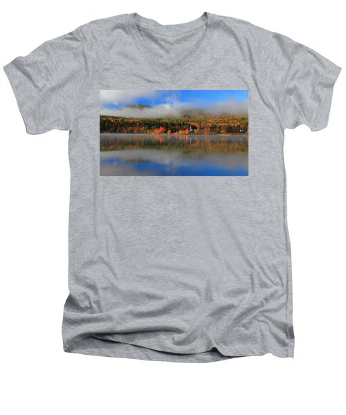 Church Across The Lake-panoramic Men's V-Neck T-Shirt