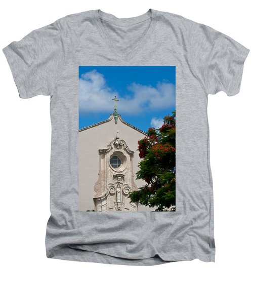 Men's V-Neck T-Shirt featuring the photograph Church Of The Little Flower by Ed Gleichman
