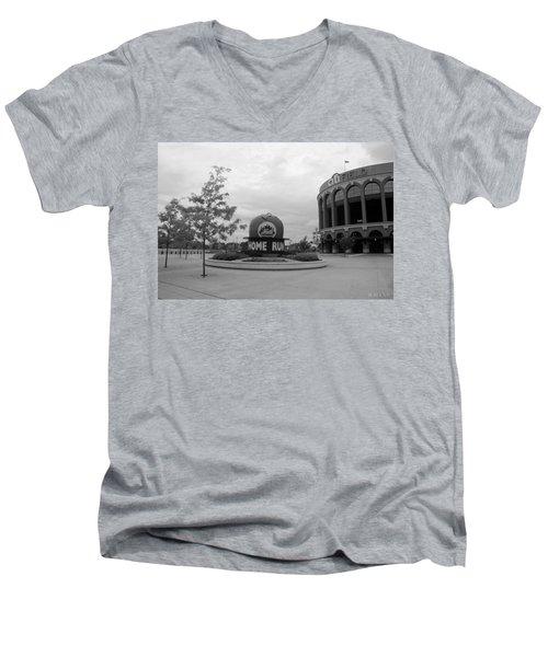 Citi Field In Black And White Men's V-Neck T-Shirt