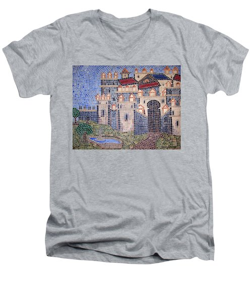 Men's V-Neck T-Shirt featuring the painting City Of Granada Old Map by Cynthia Amaral