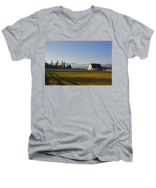 Men's V-Neck T-Shirt featuring the photograph Classic Barn In The Country by Mick Anderson