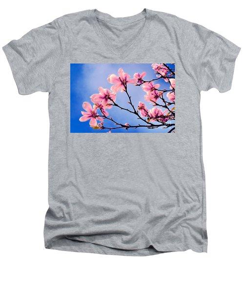 Cherry Blossums Men's V-Neck T-Shirt