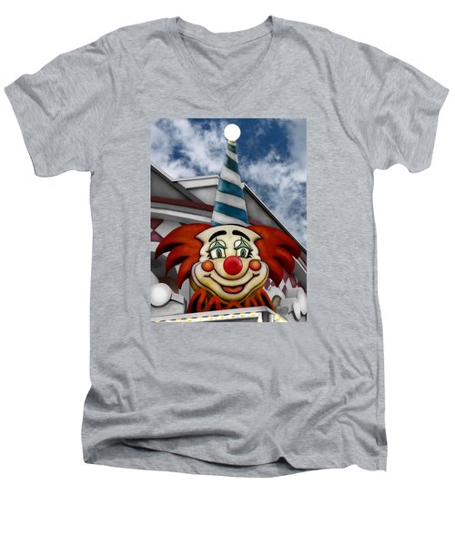 Clown Around Men's V-Neck T-Shirt by Colleen Kammerer