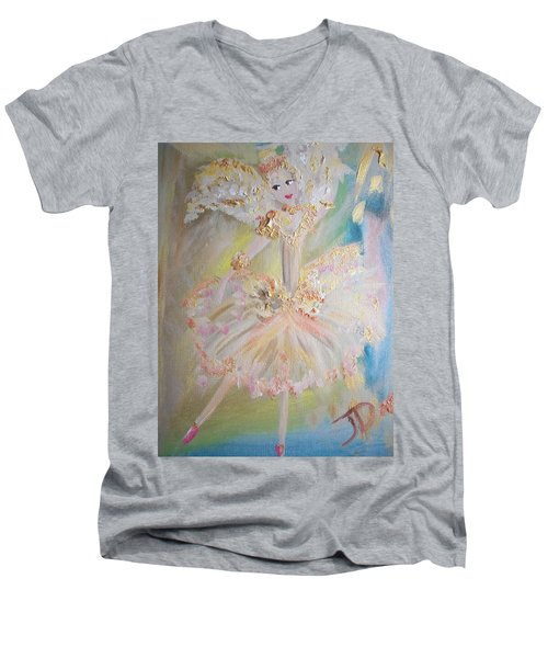Coffee Fairy Men's V-Neck T-Shirt by Judith Desrosiers