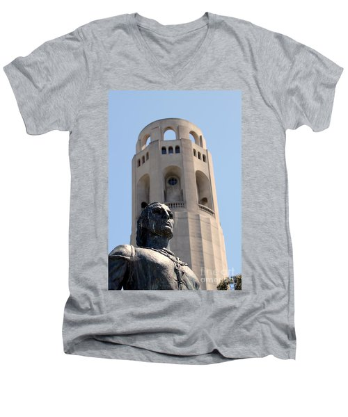 Coit Tower Statue Columbus Men's V-Neck T-Shirt
