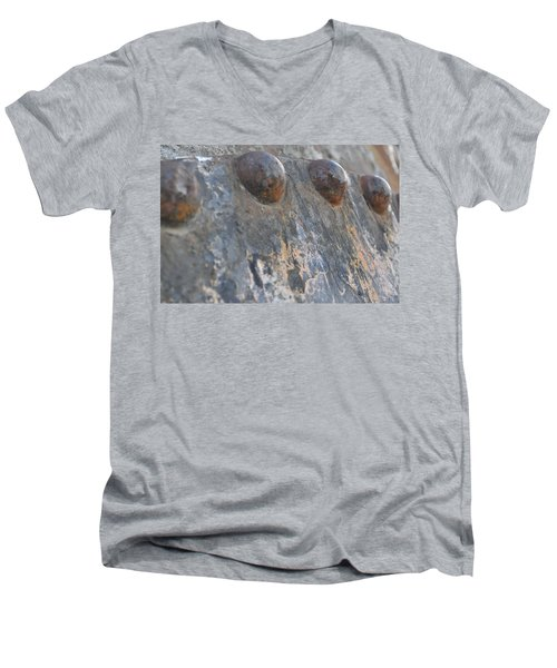 Men's V-Neck T-Shirt featuring the photograph Color Of Steel 7 by Fran Riley