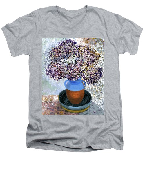 Colorful Impression Of Purple Flowers In Blue Brown Ceramic Vase Yellow Plate With Green Branches  Men's V-Neck T-Shirt by Rachel Hershkovitz
