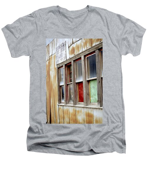 Men's V-Neck T-Shirt featuring the photograph Colorful Windows by Fran Riley