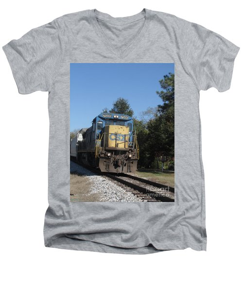 Men's V-Neck T-Shirt featuring the photograph Coming Down The Track by Donna Brown