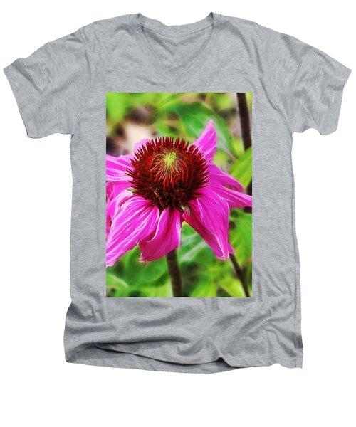 Coneflower Men's V-Neck T-Shirt by Judi Bagwell