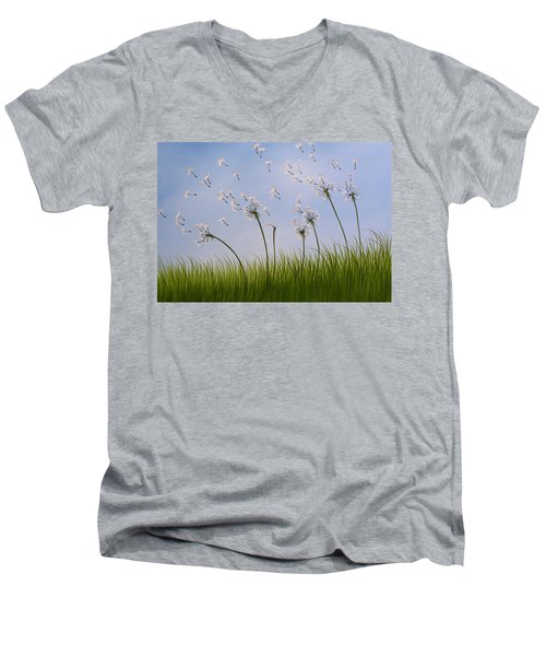 Men's V-Neck T-Shirt featuring the painting Contemporary Landscape Art Make A Wish By Amy Giacomelli by Amy Giacomelli