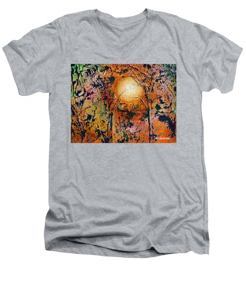 Men's V-Neck T-Shirt featuring the painting Copper Moon by Dan Whittemore