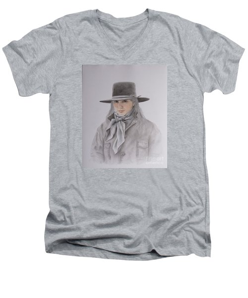 Cowgirl In Hat Men's V-Neck T-Shirt