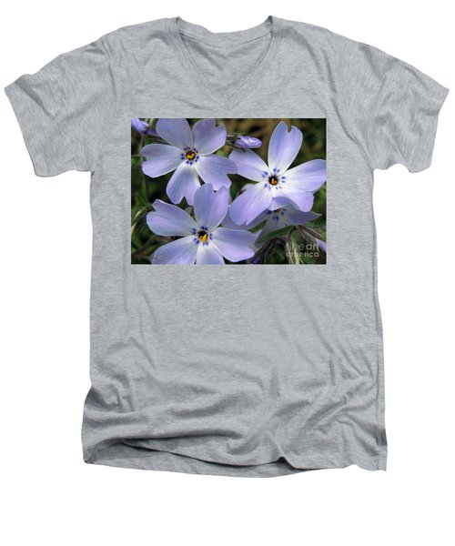 Men's V-Neck T-Shirt featuring the photograph Creeping Phlox by J McCombie