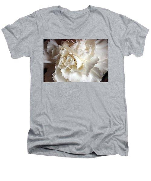 Men's V-Neck T-Shirt featuring the photograph Crisp Carnation Photo by Deniece Platt