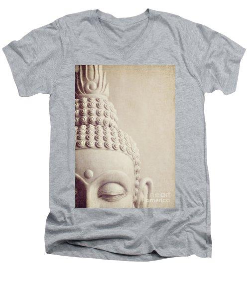 Cropped Stone Buddha Head Statue Men's V-Neck T-Shirt by Lyn Randle