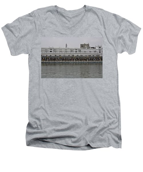 Crowd Of Devotees Inside The Golden Temple Men's V-Neck T-Shirt by Ashish Agarwal