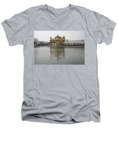 Darbar Sahib And Sarovar Inside The Golden Temple Men's V-Neck T-Shirt by Ashish Agarwal