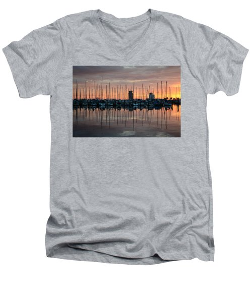 Dawn At The Marina Men's V-Neck T-Shirt