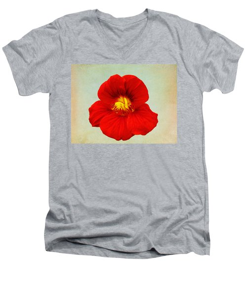 Men's V-Neck T-Shirt featuring the photograph Daylily On Texture by Bill Barber