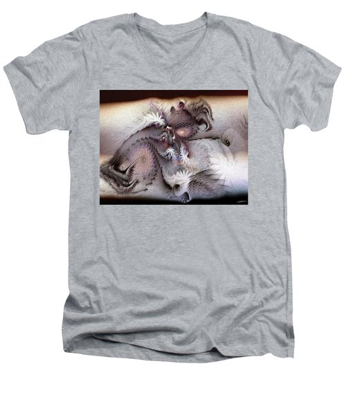 Men's V-Neck T-Shirt featuring the digital art Derailing Destiny by Casey Kotas